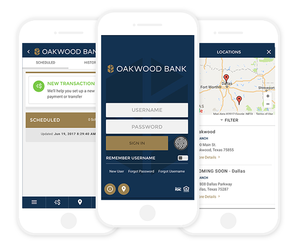 Three phones side by side displaying different screens of the oakwood bank app